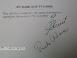 THE BOOK QUOTER'S BOOK, BOOK QUOTING AS A SPECIALTY.