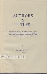 AUTHORS AND TITLES. James A. Tait