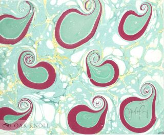 SPIRALS IN MARBLING WITH 15 ORIGINAL SAMPLES OF NEW MARBLED PATTERNS WITH SPIRAL FORMS CREATED.