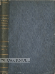 BERNARD QUARITCH'S CATALOGUE OF WORKS OF STANDARD ENGLISH LITERATURE