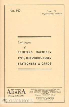CATALOGUE OF PRINTING MACHINES, TYHPE, ACCESSORIES, TOOLS, STATIONERY & CARDS