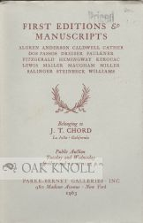 MODERN AMERICAN AND BRITISH BOOKS & MANUSCRIPTS ... BELONGING TO J.T. CHORD.
