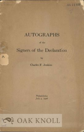 AUTOGRAPHS OF THE SIGNERS OF THE DECLARATION. Charles F. Jenkins