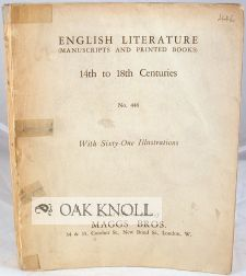 ENGLISH LITERATURE, MANUSCRIPTS AND PRINTED BOOKS 14TH TO THE 18TH CENTURIES