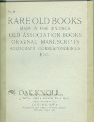 RARE OLD BOOKS, MANY IN FINE BINDINGS, OLD ASSOCIATION BOOKS, ORIGINAL MANUSCRIPTS, HOLOGRAPH...
