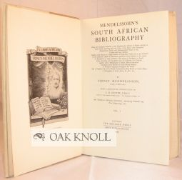 MENDELSSOHN'S SOUTH AFRICAN BIBLIOGRAPHY. WITH A DESCRIPTIVE INTRODUCTION BY I.D. COLVIN.