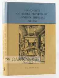 HAND-LISTS OF BOOKS PRINTED BY LONDON PRINTERS, 1501-1556