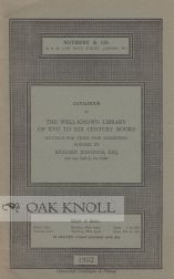 CATALOGUE OF THE WELL-KNOWN LIBRARY OF XVII TO XIX CENTURY BOOKS