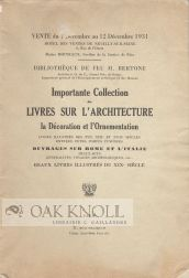 IMPORTANTE COLLECTION DE LIVRES SUR L'ARCHITECTURE LA DECORATION ET L'ORNEMENTATION