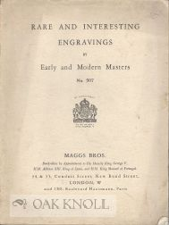 CATALOGUE OF RARE AND INTERESTING ENGRAVINGS BY EARLY AND MODERN MASTERS WATER COLOUR DRAWINGS. 507