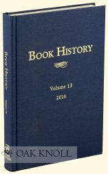 BOOK HISTORY, VOLUME 13. Ezra Greenspan, Jonathan Rose