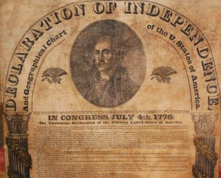 DECLARATION OF INDEPENDENCE AND GEOGRAPHICAL CHART OF THE U. STATES OF AMERICA.