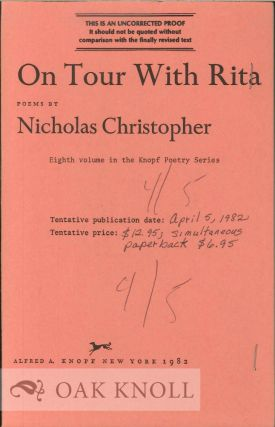 ON TOUR WITH RITA, POEMS. Nicholas Christopher