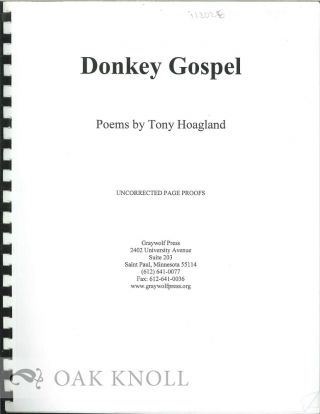 DONKEY GOSPEL, POEMS. Tony Hoagland