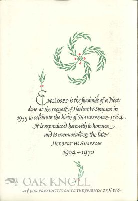 """ Enclosed is a facsimile of a piece done at the request of Herbert W. Simpson to celebrate the..."