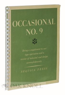 OCCASIONAL NO. 9: BEING A SUPPLEMENT TO OUR TYPE SPECIMENS AND A REVIEW OF TECHNICAL AND DESIGN...