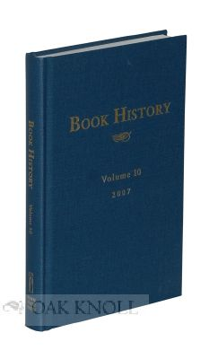BOOK HISTORY, VOLUME 10. Ezra Greenspan, Jonathan Rose