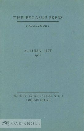 THE PEGASUS PRESS CATALOGUE 1
