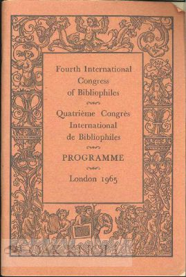 FOURTH INTERNATIONAL CONGRESS OF BIBLIOPHILES (QUATRIÈME CONGRÈS INTERNATIONAL DE BIBLIOPHILES).