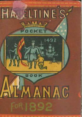 HAZELTINE' S POCKET BOOK ALMANAC 1892