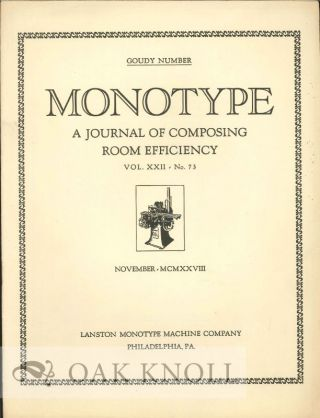 MONOTYPE: A JOURNAL OF COMPOSING ROOM EFFICIENCY