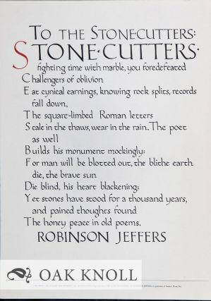 HIS PLACE FOR STORY: ROBINSON JEFFERS: A DESCRIPTIVE BIBLIOGRAPHY