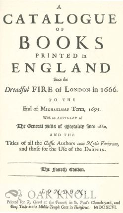 A CATALOGUE OF ALL THE BOOKS PRINTED IN ENGLAND.