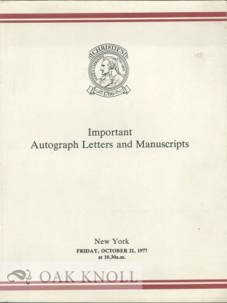 IMPORTANT AUTOGRAPH LETTERS AND MANUSCRIPTS: THE PROPERTIES OF THE HEIRS OF GRACE PHILLIPS...