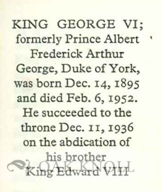 KING GEORGE VI: THE PRIME MINISTER'S BROADCAST FEBRUARY 7, 1952.
