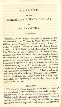 CATALOGUE OF THE BOOKS BELONGING TO THE MERCANTILE LIBRARY COMPANY OF PHILADELPHIA, WITH A GENERAL INDEX OF AUTHORS; AND CONTAINING THE CONSTITUTION, RULES, AND REGULATION OF THE ASSOCIATION, ACCOMPANIED BY A SKETCH OF ITS HISTORY.
