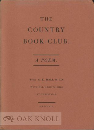 THE COUNTRY BOOK-CLUM: A POEM. Charles Shillito