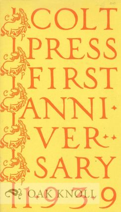 COLT PRESS FIRST ANNIVERSARY 1939