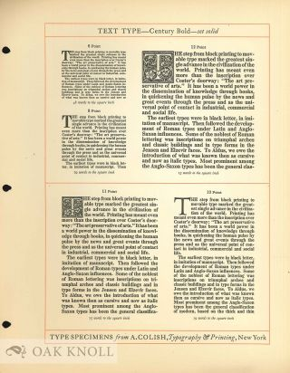 THE COLISH BOOK OF TYPES SHOWING A COLLECTION OF MODERN PRINTING TYPES SUITABLE FOR HIGH-GRADE PRINTING AND ADVERTISING TYPOGRAPHY.