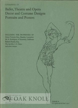 CATALOGUE OF BALLET, THEATRE AND OPERA DECOR AND COSTUME DESIGNS PORTRAITS AND POSTERS