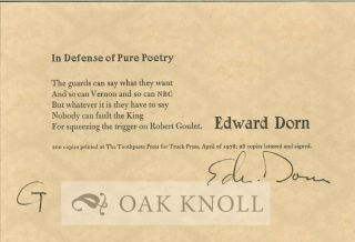 IN DEFENSE OF PURE POETRY. Edward Dorn