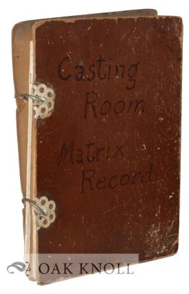 CASTING ROOM MATRIX RECORD. Lanston