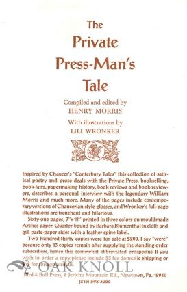PROSPECTUS FOR THE PRIVATE PRESS-MAN'S TALE