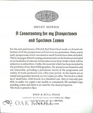 PROSPECTUS FOR A CONSERVATORY FOR MY PROSPECTUSES AND SPECIMEN LEAVES