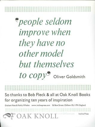 """ PEOPLE SELDOM IMPROVE. . ."" Oliver Goldsmith"