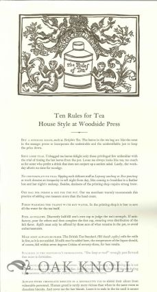 TEN RULES FOR TEA HOUSE STYLE AT WOODSIDE PRESS