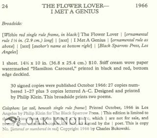 A DESCRIPTIVE BIBLIOGRAPHY OF THE PRIMARY PUBLICATIONS OF CHARLES BUKOWSKI.
