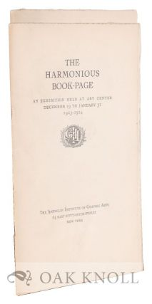 THE HARMONIOUS BOOK-PAGE and THE DECLINE OF THE HARMONIOUS PAGE