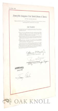 Joint Resolution of Congress and Presidential Proclamation honoring American University Presses....