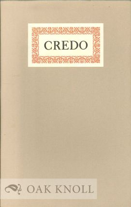 CREDO. Thomas James Cobden-Sanderson.