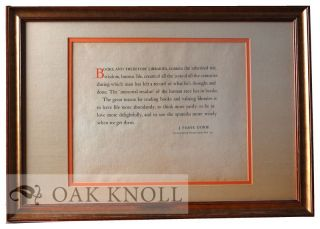 Framed quotation of J. Frank Dobie. J. Frank Dobie.