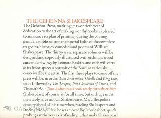Prospectus for THE GEHENNA SHAKESPEARE