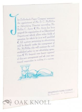 Announcement by the Zellerbach Paper Company.