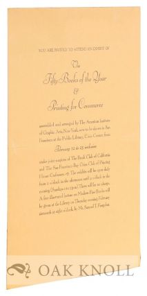 "Invitation to ""an exhibit of the Fifty Books of the Year & Printing for Commerce"""