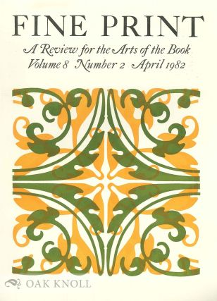 FINE PRINT: A REVIEW FOR THE ARTS OF THE BOOK