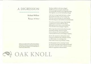 A DIGRESSION. Richard Wilbur